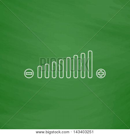 Volume adjustment Outline vector icon. Imitation draw with white chalk on green chalkboard. Flat Pictogram and School board background. Illustration symbol