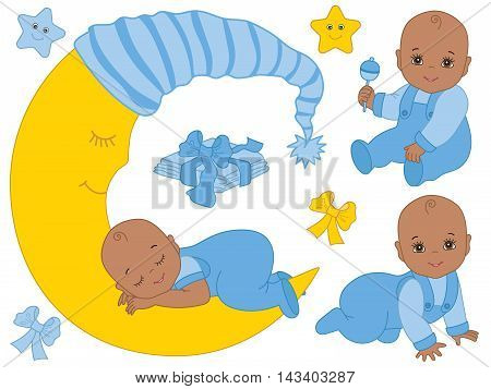 Vector African American baby boy set with rattle, bows, stars and the moon