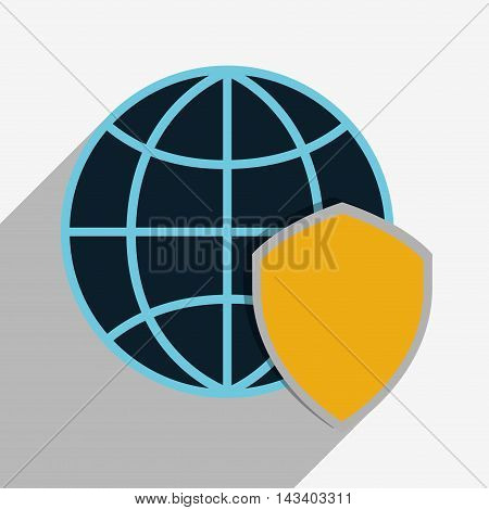 shield global cyber security system technology icon. Colorful and flat design. Vector illustration