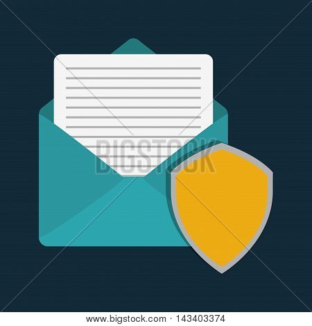 shield envelope cyber security system technology icon. Colorful and flat design. Vector illustration