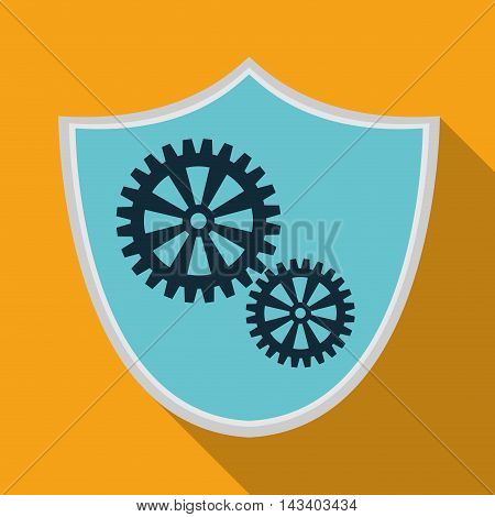 shield gear cyber security system technology icon. Colorful and flat design. Vector illustration