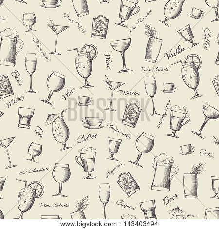 Vintage seamless pattern with hand drawn cocktails and drinks. Vector illustration