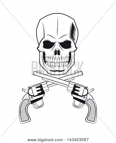 skull gun tattoo face gothic death evil icon. flat and isolated design. Vector illustration