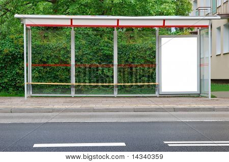 Bus stop in the street
