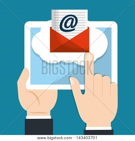 envelope tablet email marketing send icon. Colorful and flat design. Vector illustration
