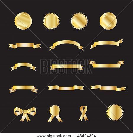 Ribbon. Ribbon banner gold set. Set of ribbon vintage icon, ribbon logo, ribbon labels and stickers, bow tie and tied ribbon. Vector illustration. Gold Ribbon isolated on black background.