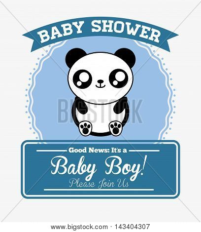 panda cute animal cartoon baby shower card icon. Colorful and flat design. Vector illustration
