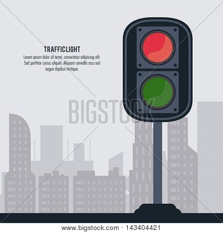semaphore trafficlight sign warning road street icon. Colorful design. City silhouette background. Vector illustration