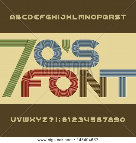 Retro stripe alphabet vector font. Funky type letters, numbers and symbols. Typography for headlines, posters etc. in 70's style.