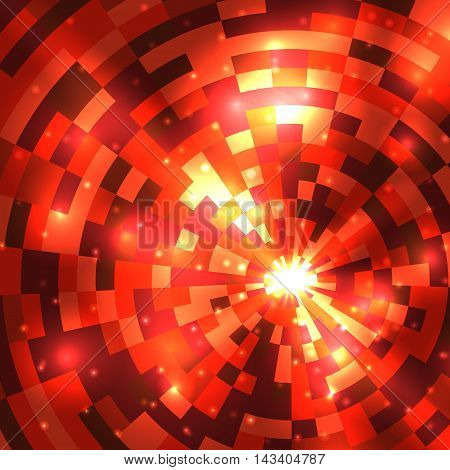 Abstract Flame Round Mosaic Background