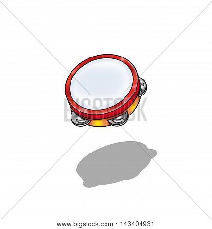 Music illustration. Tambourine on white background with shadow. Kids background.