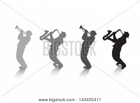 Trumpeter and saxophonist Music background. Abstract illustration. Black and grey silhouettes with shadow on white background. Jazz festival. For Web, Print, Art, Music design. Advertising