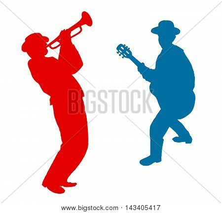 Trumpeter and guitarist Jazz Music background. Abstract illustration. Red, blue silhouettes on white background. Jazz festival Illustration