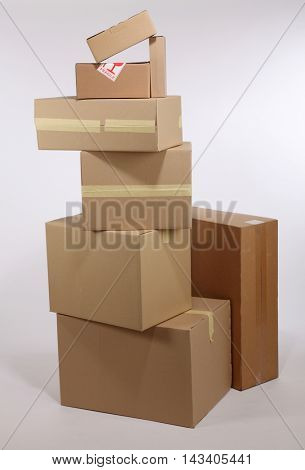 stack of brown cardboard box on the white background
