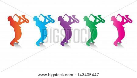 Jazz musicians. Music template background with Jazz musicians trumpeter, saxophonist silhouettes and shadow isolated on white background. Hand drawing, vector illustration. Graphic resource for art, print, web design. Jazz festival.