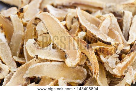 Dried sliced roasted cowskin ready for eat - Northern Thailand traditional food