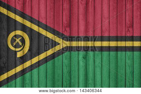 Flag of Vanuatu painted on wooden frame