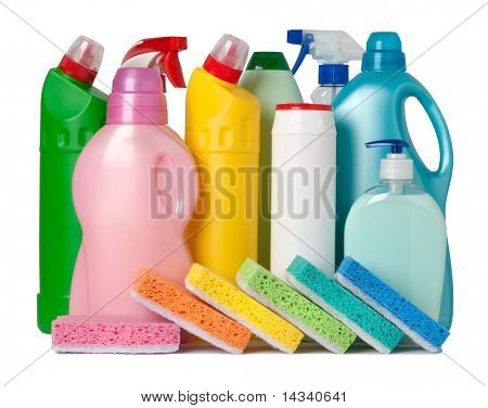 Colorful containers of cleaning supplies and sponges