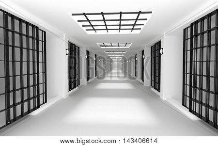 Rows of prison cells prison interior. 3D rendering