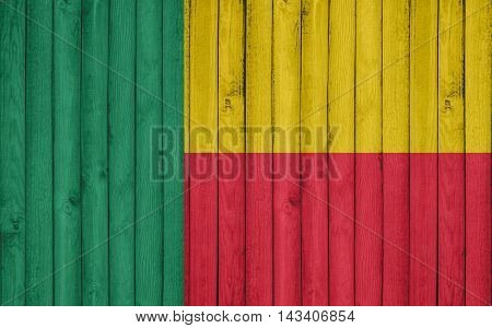 Flag of Benin painted on wooden frame