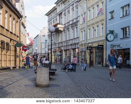 JELENIA GORA POLAND - AUGUST 19 2016: Tourists In Downtown In Jelenia Gora Poland