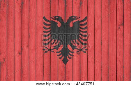 Flag of Albania painted on wooden frame