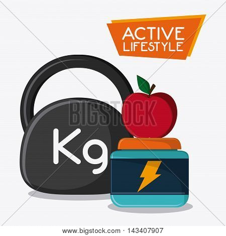 weight apple protein healthy lifestyle gym fitness icon. Colorful design. Vector illustration