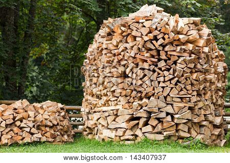 Chopped firewood for home heating in the Carpathians. Ukraine.