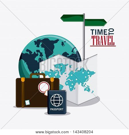 suitcase baggage planet map passport time travel vacation icon. Corloful and Isolated design. Vector illustration