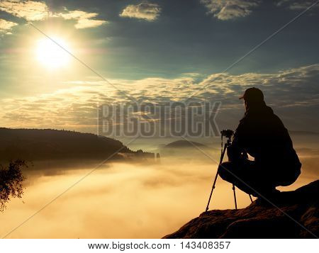 Photographer Work With Camera On Peak. Dreamy Mood In Landscapelandscape,