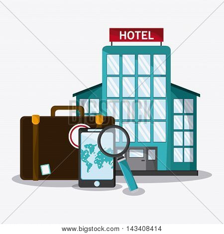 suitcase baggage hotel smartphone lupe time travel vacation icon. Corloful and Isolated design. Vector illustration