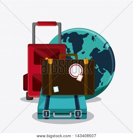 suitcase baggage planet time travel vacation icon. Corloful and Isolated design. Vector illustration