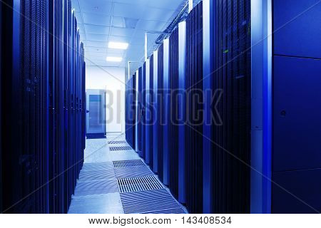 Close up modern interior of server room, Super Computer