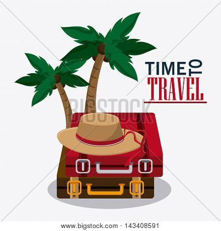 suitcase baggage hat palm tree time travel vacation icon. Corloful and Isolated design. Vector illustration
