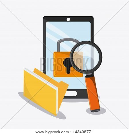 padlock file smartphone lupe cyber security system technology icon. Flat design. Vector illustration