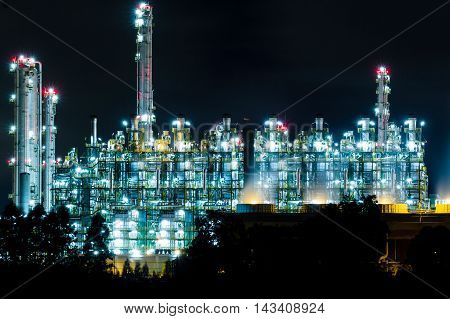 Oil refinery at night in Rayong Thailand
