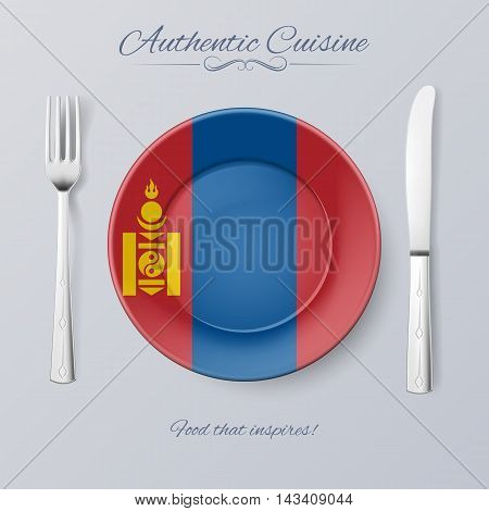 Authentic Cuisine of Mongolia. Plate with Mongolian Flag and Cutlery, vector