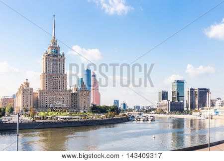 MOSCOW - SEPTEMBER 15 2015: Radisson Royal Hotel (Hotel Ukraina) and World Trade Center. These buildings are situated in a prestige Presnensky District.