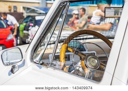 Dashboard And Steering Wheel Of Retro Car On Gaz21 Avtoarena In Cheboksary