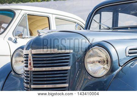 Retro car Moskvich-400/401 avtoarena in Cheboksary Chuvash Republic Russia. 08/20/2016