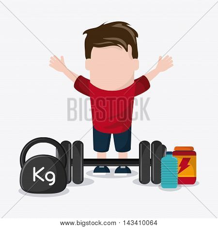 boy man cartoon weight lifting protein bottle healthy lifestyle gym fitness icon. Colorful design. Vector illustration