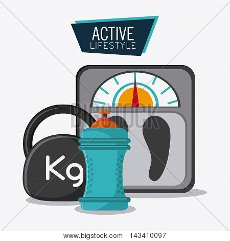 water bottle weight scale healthy lifestyle gym fitness icon. Colorful design. Vector illustration