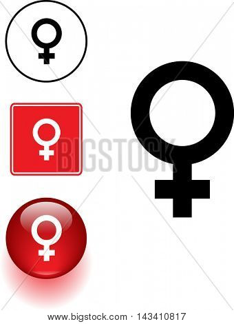 female gender symbol sign and button