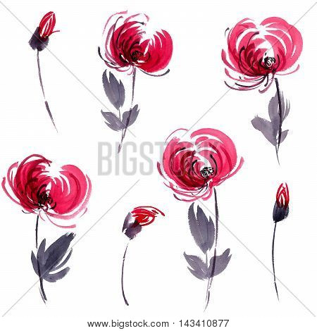 Watercolor and ink illustration of red flowers buds and leaves. Oriental traditional painting in style sumi-e gohua.