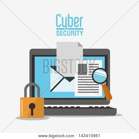 padlock laptop envelope lupe cyber security system technology icon. Flat design. Vector illustration