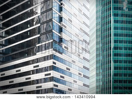 Fragment view of modern business glass buildings