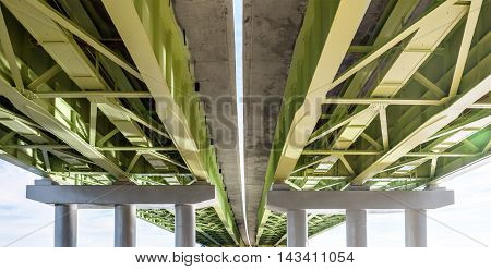 View from below to an elevated road