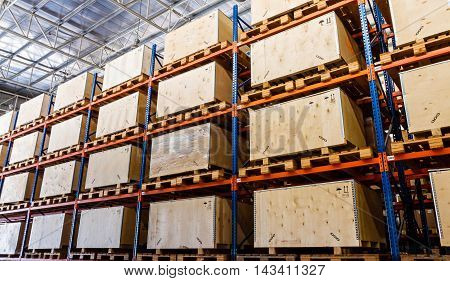 Shelves manufacturing storage in a warehouse factory