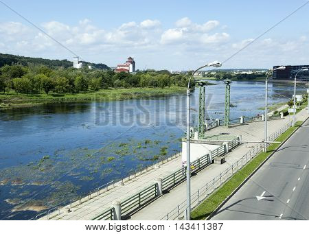 The view of Kaunas city embankment along Neman River (Lithuania).
