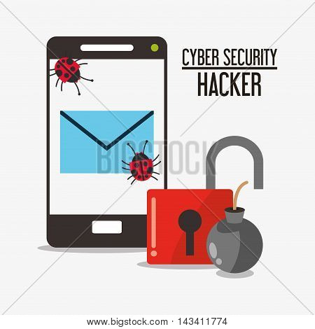 padlock smartphone envelope bug cyber security system technology icon. Flat design. Vector illustration